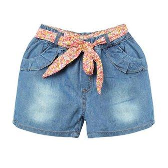 फूल बेल्ट के साथ लड़की डेनिम शॉर्ट्स बच्चों जीन्स पैंट