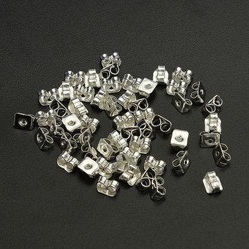 50Pcs Silver Butterfly Earring Backs Stoppers Jewelry Earnuts Studs