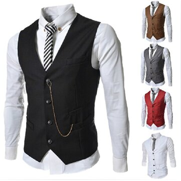 Men's Casual Business Slim Short Version Suit V-neck Dress Vests