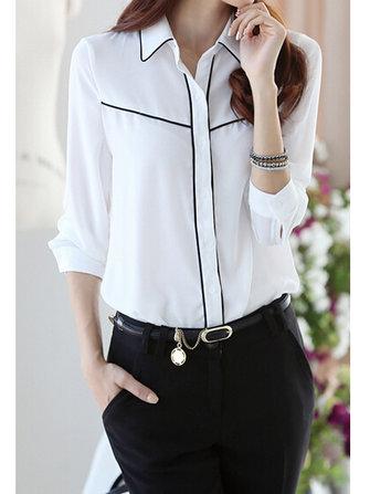 महिला सुरुचिपूर्ण सफेद ओएल शिफॉन लंबी आस्तीन शर्ट ब्लाउज