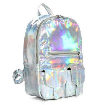 Hologram Laser Schoolbag Students Harajuku Preppy Style Backpack