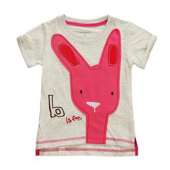 2015 नई छोटी मावेन बच्ची बच्चे खरगोश हल्के भूरे रंग के कपास लघु आस्तीन टी शर्ट