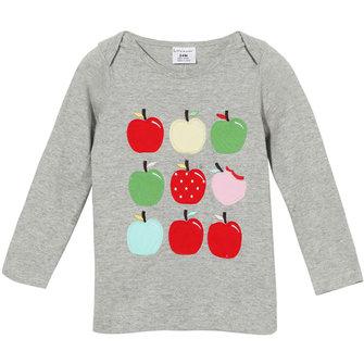 2015 नई लिटिल मेवेन ग्रीष्मकालीन बेबी गर्ल बच्चे सेब ग्रे कपास लंबी आस्तीन टी शर्ट