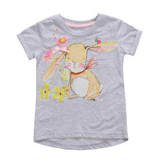 2015 नई छोटी मावेन बच्ची बच्चे प्यारा खरगोश ग्रे कपास लघु आस्तीन टी शर्ट टॉप