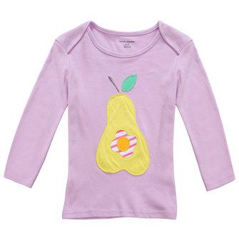 2015 नई लिटिल मेवेन ग्रीष्मकालीन बेबी गर्ल बच्चे नाशपाती बैंगनी कपास लंबी आस्तीन टी शर्ट