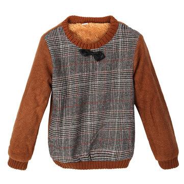 बेबी चिल्ड्रन बॉयज़ थिक टाईट लटिस प्लेड फर स्वेटर