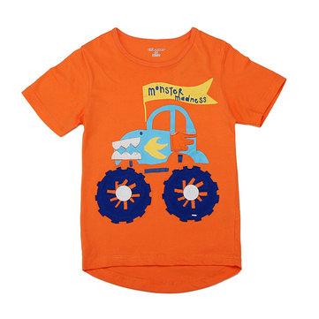2015 Nya Lilla Maven Orange Ljuvlig Bil Boy Bomull Kortärmad T-shirt Top
