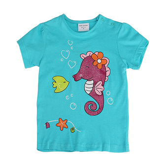 2015 नई ग्रीष्मकालीन बेबी गर्ल बच्चे सागर हॉर्स ग्रीन कपास लघु आस्तीन टी शर्ट