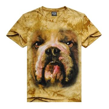 Mens Casual Cotton 3D Animal  Printing Short-sleeved Loose Top Tees