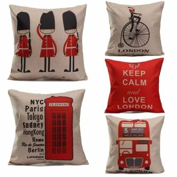 British Style Printed Pillows Cases Home Bedroom Sofa Decor Cushion Cover