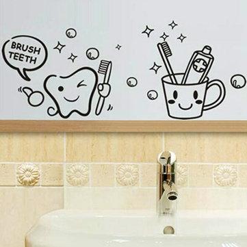 Removable Toothbrush Printed Waterproof Sticker Bathroom Wall Decal