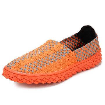पुरुषों के स्ट्रेच बुनाई आरामदायक जूते लोचदार बैंड स्लिप-ऑन फ्लैट स्पोर्ट सिलाई जूते