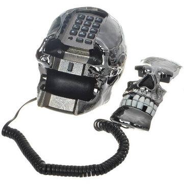 Unique Black Cráneo Skeleton Shaped Land Line Telephone
